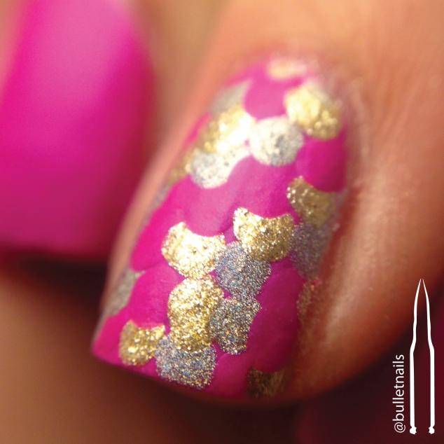 40gnai - hot pink + mermaid scales   @bulletnails