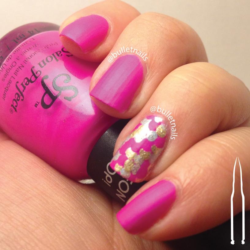 40gnai - hot pink + mermaid scales | @bulletnails