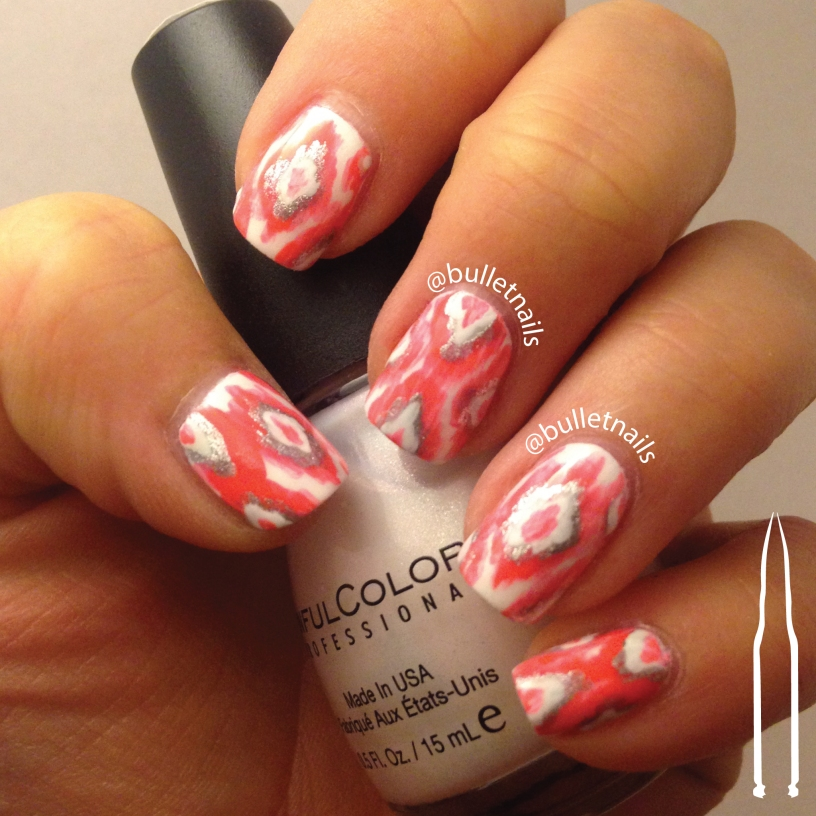 40gnai - coral/white + ikat | @bulletnails