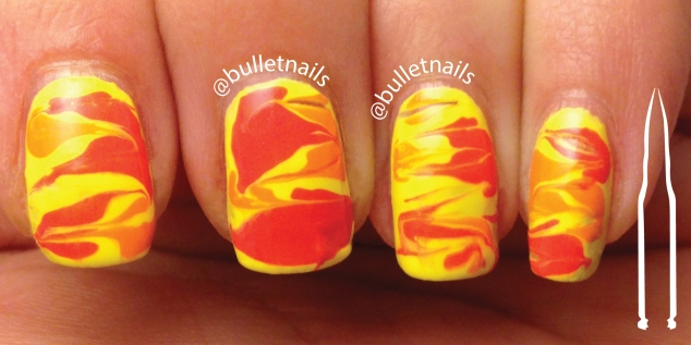 40gnai - lemon/peach + fluid lines | @bulletnails