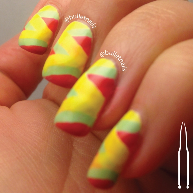 40gnai - yellow, red & green + fishbraid | @bulletnails