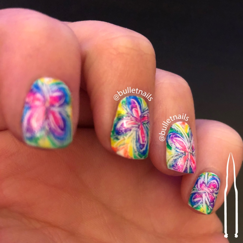 ncu - rainbow watermarble | @bulletnails